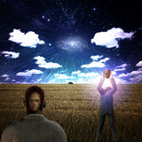 Surreal Scene with hidden man Stock Images