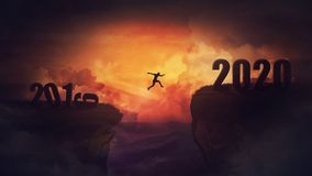 Free Surreal Scene, Man Jump Over A Chasm Obstacle Between 2019 And 2020 Years. Self Overcome, Starting A New Year. Way To Win And Stock Photos - 161685993