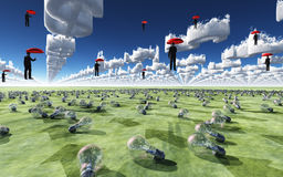 Surreal Scene with men floating in sky. Above field of light bulbs Stock Images