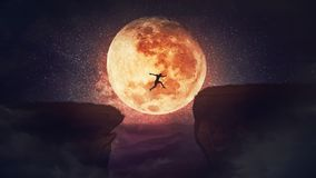 Free Surreal Scene, Self Overcome Concept, As Determined Man Jump Over A Chasm Obstacle. Way To Win And Success Over Starry Night With Stock Photos - 160650573