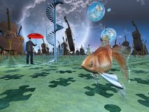 Surreal Dream Land. Surreal scene with various elements. Violins and gold fish royalty free illustration