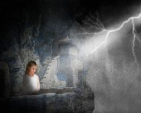 Rain Storm, Castle, Mountain, Girl, Lightning Stock Photos