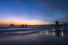 Evening over Huntington Beach pier Stock Image