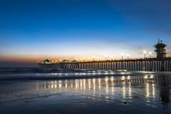 Evening over Huntington Beach pier Royalty Free Stock Images