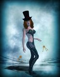 Surreal Sci Fi Woman Standing Royalty Free Stock Photography