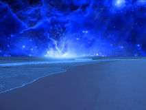 Surreal Sea. Bathed in blue light Stock Photo