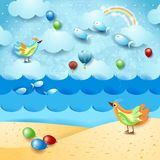 Surreal seascape with balloons, birds and flying fishes. Vector illustration eps10 vector illustration