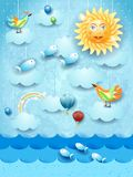 Surreal seascape with big sun, balloons, birds and flying fishes. Vector illustration eps10 stock illustration