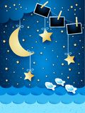 Surreal seascape with hanging stars and photo frames, paper art. Vector illustration eps10 royalty free illustration