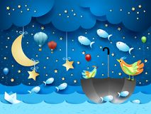 Surreal seascape with moon, umbrella, balloons and flying fishes. Vector illustration eps10 stock illustration