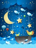 Surreal seascape with moon, umbrella, birds, balloons and flying fishes. Vector illustration eps10 stock illustration