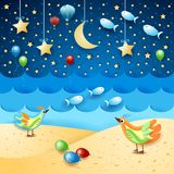 Surreal seascape by night with balloons, birds and flying fishes. Vector illustration eps10 vector illustration
