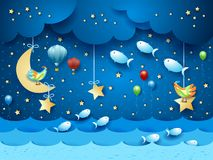 Surreal seascape by night with balloons, birds and flying fishes. Vector illustration eps10 royalty free illustration