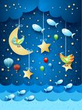 Surreal seascape by night with balloons, birds and flyingh fishes. Vector illustration eps10 vector illustration