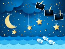 Surreal seascape by night with hanging stars and photo frames. Vector illustration eps10 stock illustration