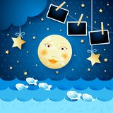 Surreal seascape by night with moon and photo frames. Vector illustration eps10 vector illustration