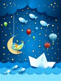 Surreal seascape by night, with paper boat and flying fishes. Vector illustration eps10 royalty free illustration