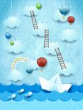Surreal seascape with paper boat, balloons and stairways. Vector illustration eps10 stock illustration