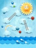 Surreal seascape with stairways, sun and balloons. Vector illustration eps10 vector illustration