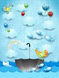 Surreal seascape with umbrella, birds, balloons and flying fishes. Vector illustration eps10 royalty free illustration