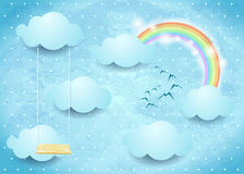 Surreal sky with clouds, rainbow and swing Stock Photos