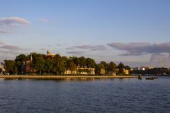 Surreal sky over one of Stockholms landmark royalty free stock photos