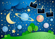 Surreal sky with planet, hanging moon and photo frames. Vector illustration eps10 vector illustration