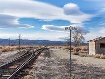 Surreal sky at Wabuska, Nevada. Unusual clouds, historic Wabuska, Nevada railroad siding Stock Photography