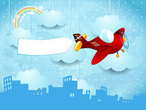 Surreal skyline with hanging clouds, airplane and banner vector illustration