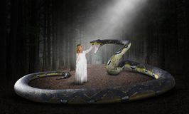 Surreal Snake, Nature, Woods, Girl stock photography