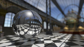 Surreal sphere in steampunk victorian interior. 3D rendering Royalty Free Stock Photography