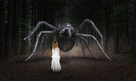 Surreal Spider, Young Girl, Monster stock photo