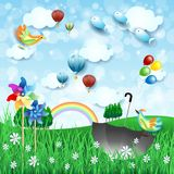 Surreal spring landscape with pinwheels, umbrella and flying fishes. Vector illustration eps10 vector illustration
