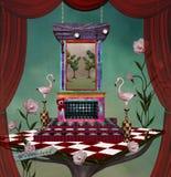 Surreal stadium van het sprookjesland met roze flamingo's royalty-vrije illustratie