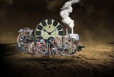 Surreal Steampunk Flying Time Machine Technology royalty free stock photos