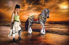 Surreal Steampunk Woman, Zebra, Fantasy, Imagination. Fun surreal scene of a sunrise or sunset with a steampunk woman and an imagination fantasy wildlife zebra royalty free stock photography