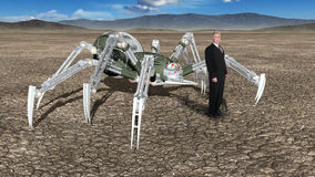 Surreal Strange Business Landscape, Spider Royalty Free Stock Images
