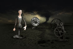 Surreal Surrealism Nightmare Dream Storm. Surrealism image with a clock, tornado storm and clouds, a strange wooden woman, and a machine part, The surreal scene Stock Images
