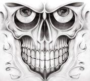 Surreal tatoegering van de kunstschedel vector illustratie