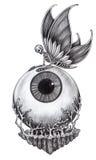 Surreal tatoegering van de kunstschedel royalty-vrije illustratie