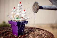 Surreal Toy Ship Growing in Flowerpot. A toy ship tries to find where he belongs - a misfit, he tries to find his home in a flowerpot, where he`s watered with an royalty free stock photo