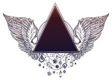 Free Surreal Triangle Beaded Frame With Angel Or Bird Wings In Tattoo Flash Style For Your Use. Royalty Free Stock Photo - 116636225