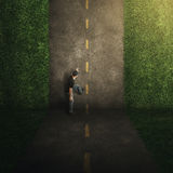 Surreal vertical road. Surreal road that goes vertical with a man climbing up Stock Images