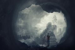 Free Surreal View As A Man Escape From A Dark Cave Climbing A Mystic Stairway Crossing The Misty Abyss Going Up To Unknown Paradise Stock Photos - 148877553