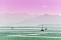 Surreal view lake tutzing Royalty Free Stock Photography