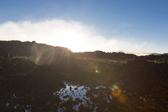 Surreal view on the top of Mount Roraima with great light effect Royalty Free Stock Images