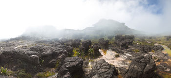 Surreal view on the top of Mount Roraima under the mist Stock Image