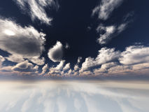 Surreal white. Reflective landscape with clouds stock illustration