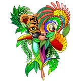 Surreal Wild Life Naif Style Art. Original Hand Drawing, representing a Surreal Wild Life, Jungle Animals Stock Image