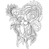 Surreal Wild Life Tattoo Style Black Black and White. Original Hand Drawing, representing a Surreal Wild Life Royalty Free Stock Images